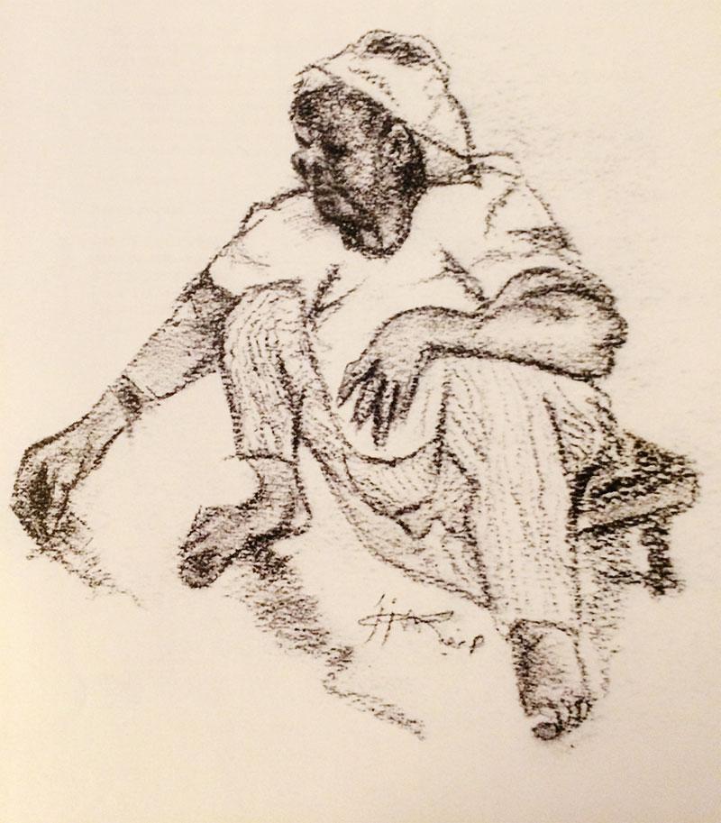 اسكتش بالفحم للفنانة السعودية صفيبن زقر